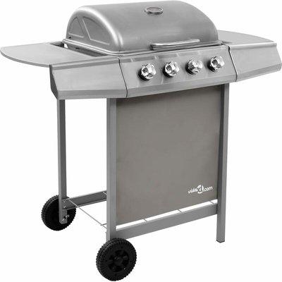Gas BBQ Grill with 4 Burners Silver - VIDAXL