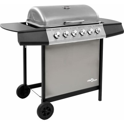 Gas BBQ Grill with 6 Burners Black and Silver - VIDAXL