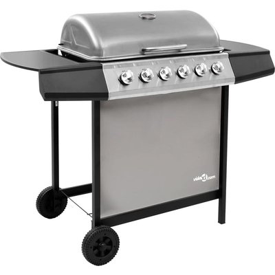 Gas BBQ Grill with 6 Burners Black and Silver (FR/BE/IT/UK/NL only) - ASUPERMALL