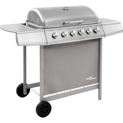 Gas BBQ Grill with 6 Burners Silver (FR/BE/IT/UK/NL only) - VIDAXL