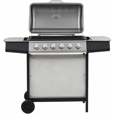 Gas BBQ Grill with 6 Cooking Zones Stainless Steel Silver - VIDAXL