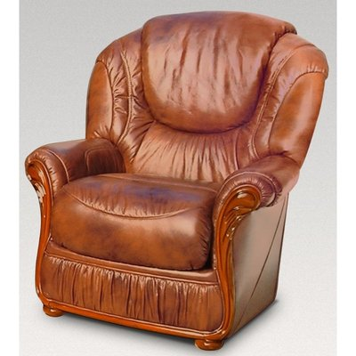 Designer Sofas 4 U - Genoa Armchair Genuine Italian Tabak Brown Leather Sofa Offer