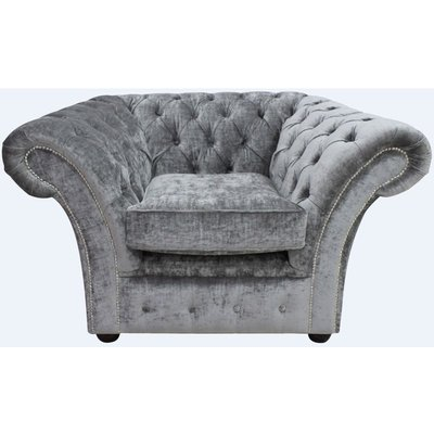 Gosford Buttoned Studded Chair Velvet Modena Smoke - DESIGNER SOFAS 4 U