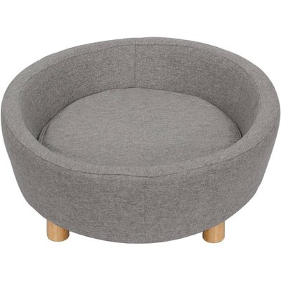 Grey Fabric Pet Sofa Dog Cat Couch Wooden Legs Luxury Sleeping Bed - LIVINGANDHOME