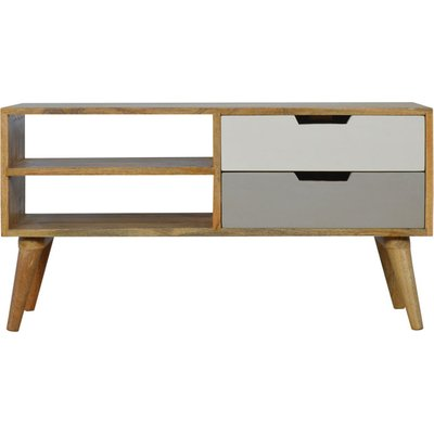 Artisan - Grey Painted Nordic Style Media Unit with 2 Drawers