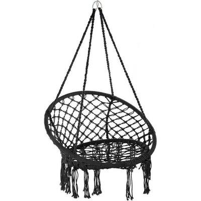 Hammock Swing Chair Hanging Seat Outdoor Garden Black