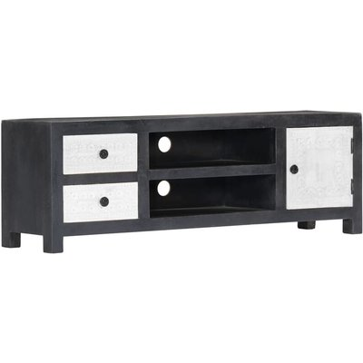 Vidaxl - Hand Carved TV Cabinet Grey 120x30x40 cm Solid Mango Wood
