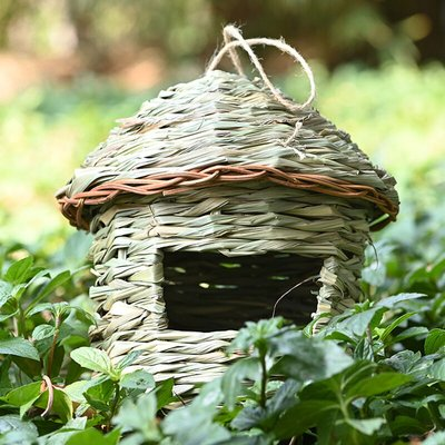 Hand-woven Bird Nest Grass Birdhouse Outside Hanging Natural Bird Hut 1PCS Large Size,model: large size