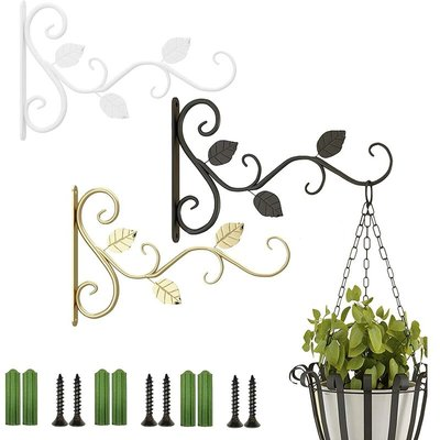 Hanging Plants Bracket, 3 Pack 11.8 inch Wall Plant Hook with Screws, Decorative Metal Plant Hanger for Bird Feeders,Planters,Lanterns,Wind Chimes