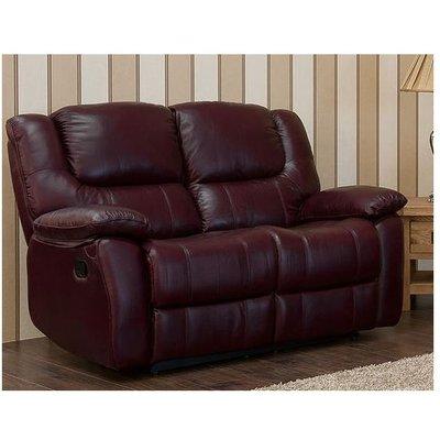 Harvey Reclining 2 Seater Leather Sofa Burgandy