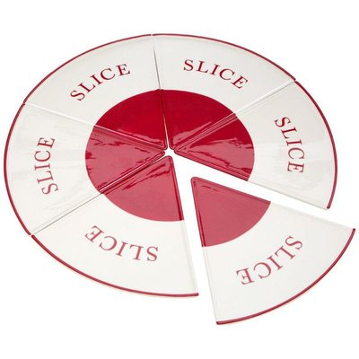 Hollywood Pizza Slice Plates,Red/Cream,6 Slices - BIG LIVING