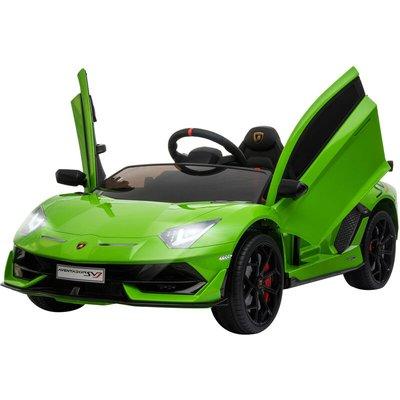 12V Licensed Lamborghini Ride-On Car w/ Lights Music Remote 3-8 Yrs Green - Homcom