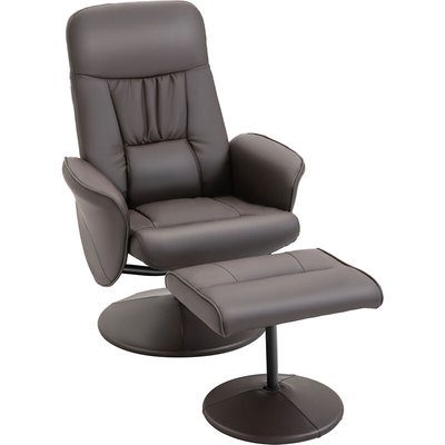 2 Pcs PU Leather Reclining Armchair Ottoman Set 360° Swivel Brown - Homcom