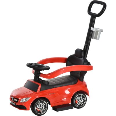 3 in 1 Toddler Ride On Push Car Stroller Slider Walking Car 12-36 Mths Red - Homcom
