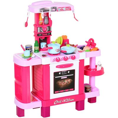 HOMCOM 38-Piece Children's Kitchen Play Set w/ Realistic Sounds Lights Food Pink