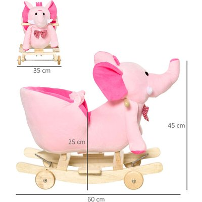 Baby Ride on Rocking Wooden Toy for Kids 2 in 1 Plush Elephant 32 Songs - Pink - Homcom