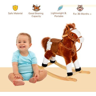 Children Child Kids Plush Rocking Horse with Sound Handle Grip Traditional Toy Fun Gift - Brown - Homcom
