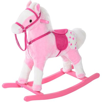 Children Child Kids Plush Rocking Horse with Sound Handle Grip Traditional Toy Fun Gift - Pink - Homcom