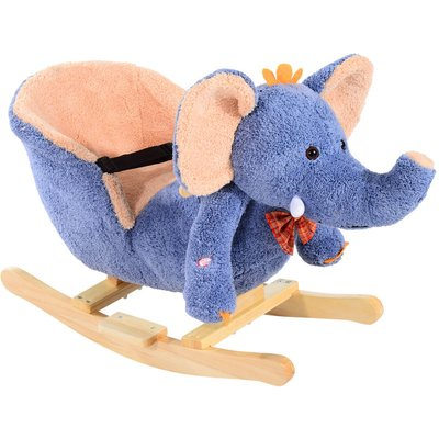 Children Kids Rocking Horse Toys Plush Elephant Rocker Seat Toddler - Blue - Homcom