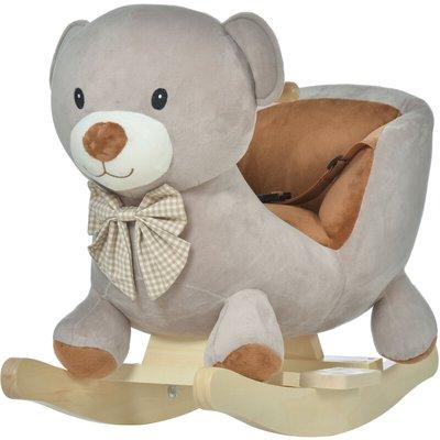 Cute Kids Riding Bear Seat Ride On w/ Wood Base Sounds Padded Fun - Homcom