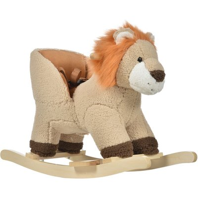 Cute Kids Riding Lion Seat Ride On w/ Wood Base Sounds Padded Fun - Homcom