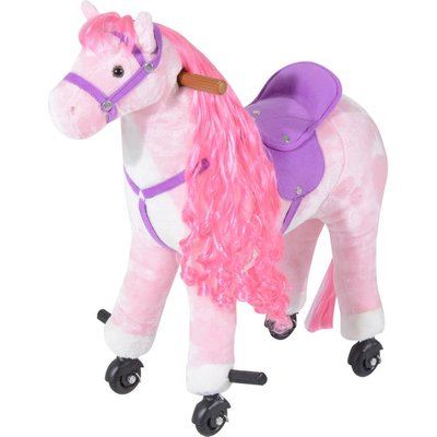 Kids Boys Plush Ride On Walking Horse Toy Wheels Foot Rest w/Neigh Sound (Pink) - Homcom