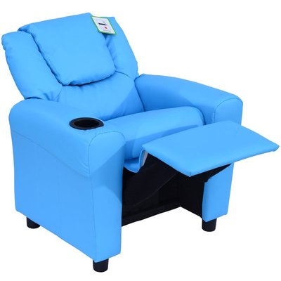 Kids Children Recliner Lounger Armchair Games Chair Sofa Seat PU Leather Look w/ Cup Holder (Blue) - Homcom