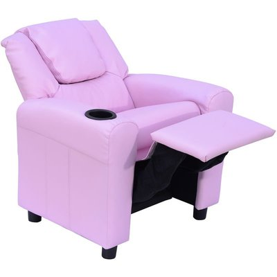 Kids Children Recliner Lounger Armchair Games Chair Sofa Seat PU Leather Look w/ Cup Holder (Pink) - Homcom