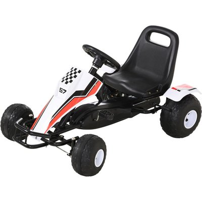 Kids Cool Pedal Go Kart Children Ride on Car w/ Adjustable Seat 3-8 Yrs - Homcom