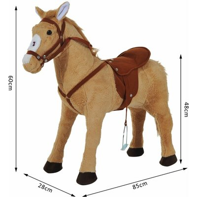 Kids Cuddly Toy Standing Horse Children Plush Soft Pony Ride On Game Play Fun Traditional Gift w/ Neigh Sound - Homcom