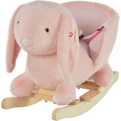 Kids Cute Rocking Rabbit Ride-On Plush Toy w/ Wood Frame Sound Effects - Homcom
