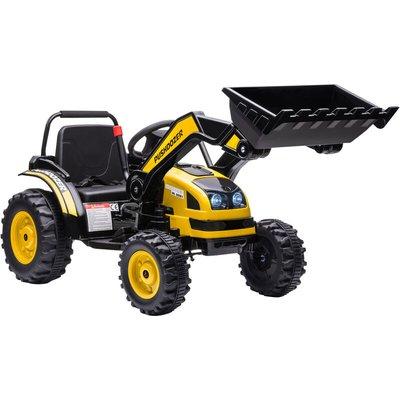 HOMCOM Kids Electric Digger Ride-On Excavator w/ Lights Child Toy 3-5 Yrs Yellow