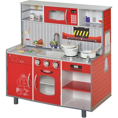 Kids Kitchen Play Set Cooking House Educational w/ Accessories Red - Homcom