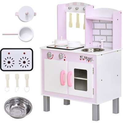 Kids Kitchen Play Set Sounds Utensils Pans Storage Child Role Play 3 Yrs+ - Homcom