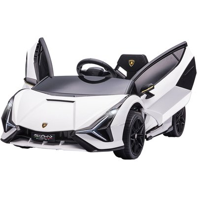 HOMCOM Kids Licensed Lamborghini SIAN Electric 12V Ride-On Car 3-5 Yrs White