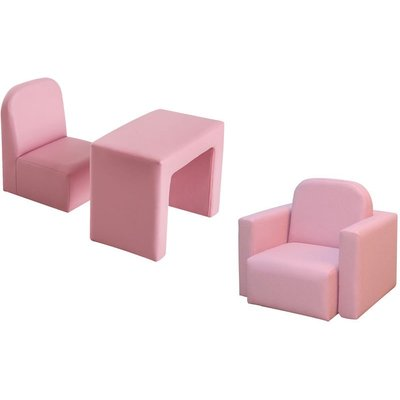 Kids Mini Sofa 3 In 1 Table Chair Set Children Armchair Seat - Pink - Homcom