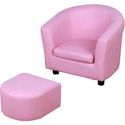 Kids MiniArmchair & Seat Set Padded 3-6 Years Wood Frame Pink - Homcom