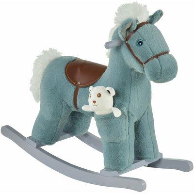Kids Plush Ride-On Rocking Horse Toy w/ Sound Handle Grip Seat Blue - Homcom