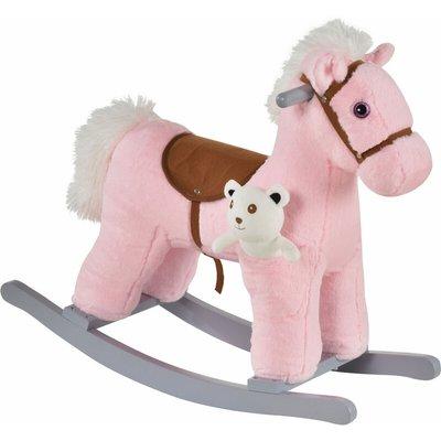 Kids Plush Ride-On Rocking Horse Toy w/ Sound Handle Grip Seat Pink - Homcom