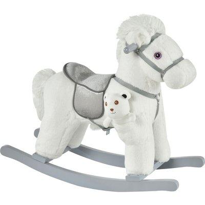Kids Plush Ride-On Rocking Horse Toy w/ Sound Handle Grip Seat White - Homcom