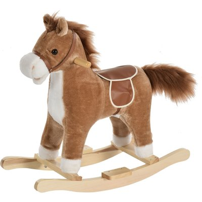 HOMCOM Kids Plush Rocking Horse Ride-On Toy w/ Wood Frame Seat Handlebars Brown