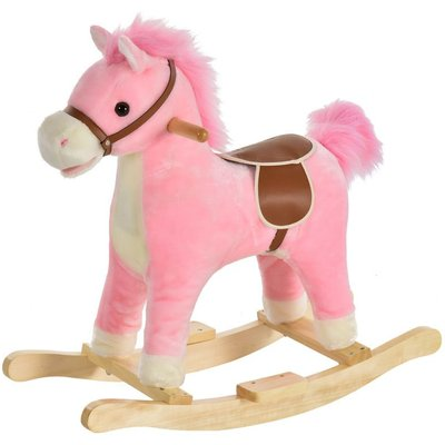 HOMCOM Kids Plush Rocking Horse Ride-On Toy w/ Wood Frame Seat Handlebars Pink
