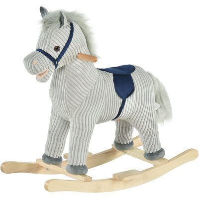 Kids Ride-On Rocking Zebra Horse w/ Wood Frame Plush Sound Ears - Homcom