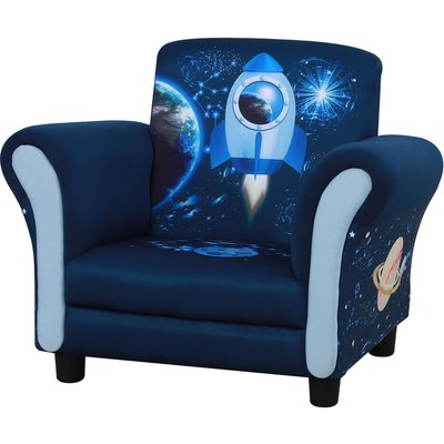 Kids Rocket Child Armchair Seat w/ Wood Frame 3-6 Years Blue - Homcom