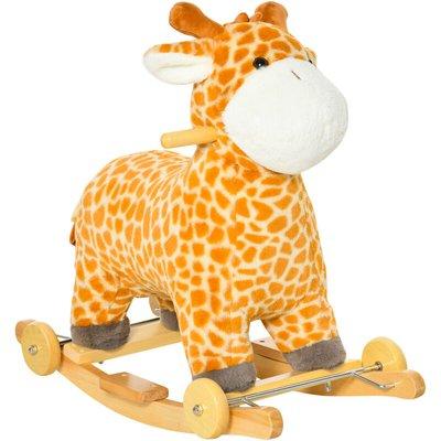 Kids Rocking Giraffe Animal Horse Ride-On Plush Gliding 36-72 Months - Homcom