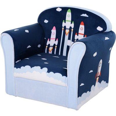 Kids Single Armchair Sofa Seat Wood Frame Padding Bedroom 3 Yrs+ Blue - Homcom