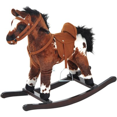 Kids Toy Rocking Horse Wood Plush Pony Handle Ride on Animal Wooden Riding Traditional Rocker Gift w/ Neigh Sound (Dark Brown Horse) - Homcom