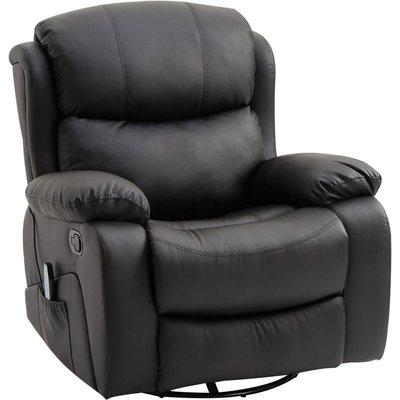 HOMCOM PU Leather Recliner Sofa Massage Chair Swivel Heated Rocking Cinema Seat - Black