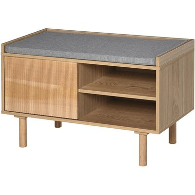 Ribbed Door Shoe Bench Home Storage w/ Wood Legs Cushion Top - Homcom