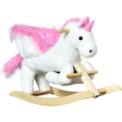 Ride On Cute Rocking Unicorn Soft Seat with High Back Sound White Pink - Homcom